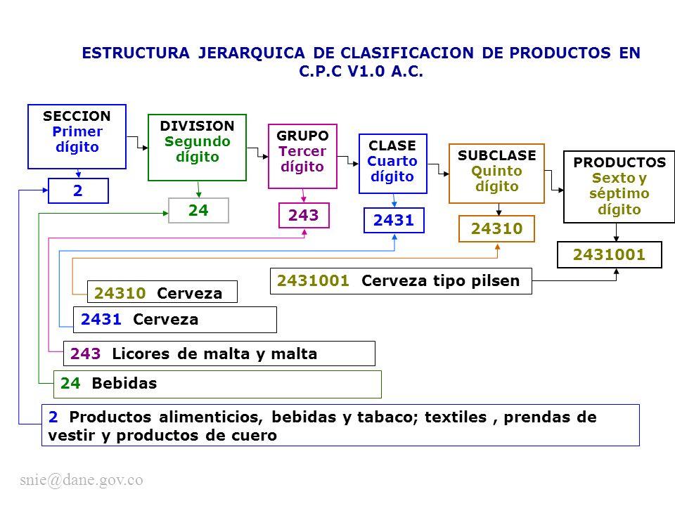ESTRUCTURA JERARQUICA DE CLASIFICACION DE PRODUCTOS EN C.P.C V1.0 A.C. SECCION Primer dígito GRUPO Tercer dígito CLASE Cuarto dígito 2 24 243 2431 DIV