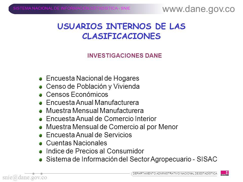 www.dane.gov.co SISTEMA NACIONAL DE INFORMACION ESTADISTICA - SNIE snie@dane.gov.co DEPARTAMENTO ADMINISTRATIVO NACIONAL DE ESTADÍSTICA INVESTIGACIONE