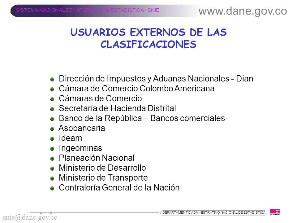 www.dane.gov.co SISTEMA NACIONAL DE INFORMACION ESTADISTICA - SNIE snie@dane.gov.co DEPARTAMENTO ADMINISTRATIVO NACIONAL DE ESTADÍSTICA USUARIOS EXTER