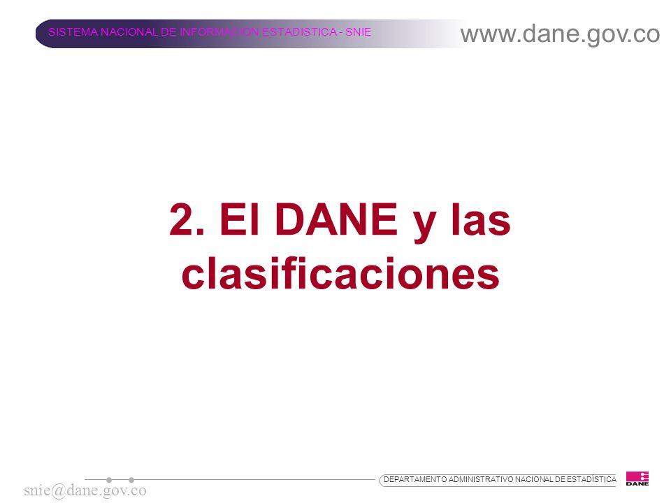 2. El DANE y las clasificaciones www.dane.gov.co SISTEMA NACIONAL DE INFORMACION ESTADISTICA - SNIE snie@dane.gov.co DEPARTAMENTO ADMINISTRATIVO NACIO