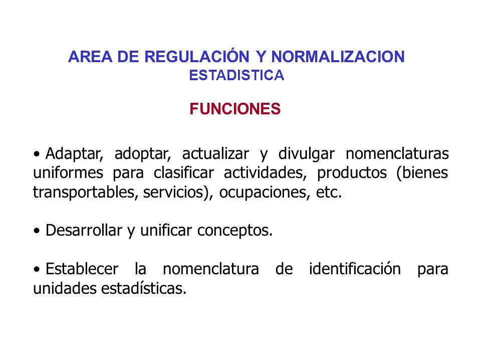 AREA DE REGULACIÓN Y NORMALIZACION ESTADISTICA Adaptar, adoptar, actualizar y divulgar nomenclaturas uniformes para clasificar actividades, productos