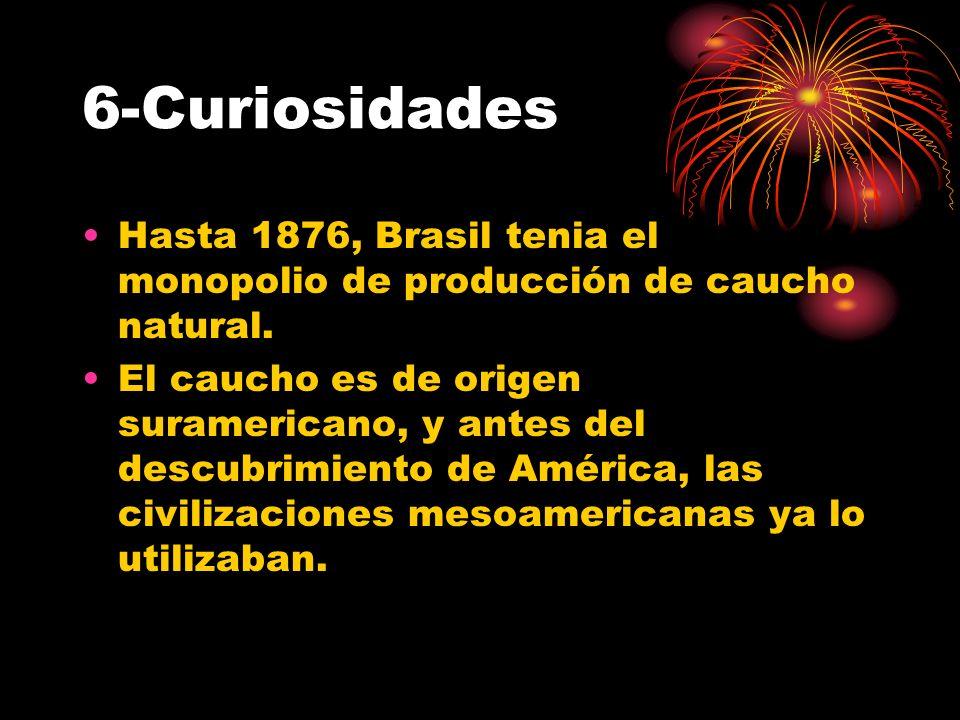 6-Curiosidades Hasta 1876, Brasil tenia el monopolio de producción de caucho natural. El caucho es de origen suramericano, y antes del descubrimiento