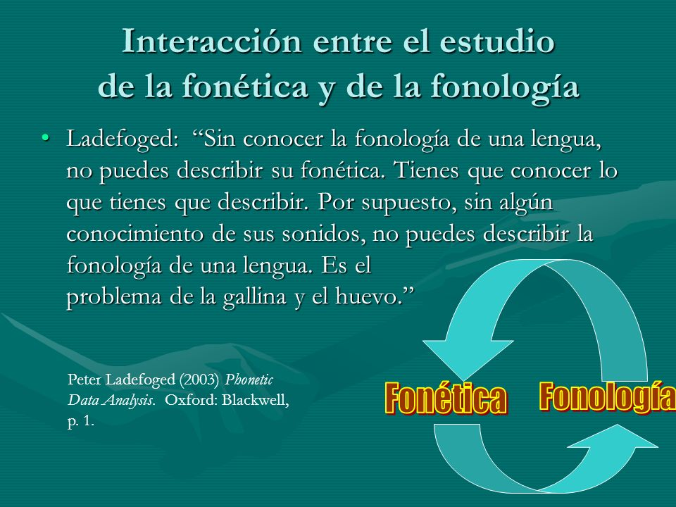 Interacción entre el estudio de la fonética y de la fonología Ladefoged: Sin conocer la fonología de una lengua, no puedes describir su fonética.