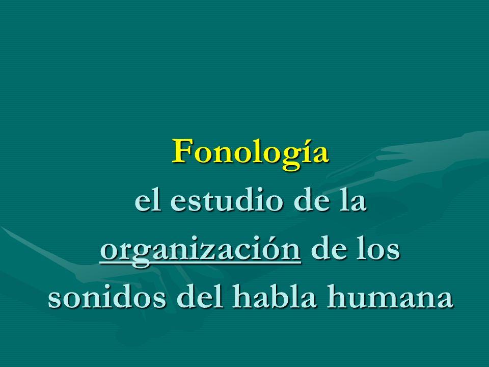 Fonología el estudio de la organización de los sonidos del habla humana