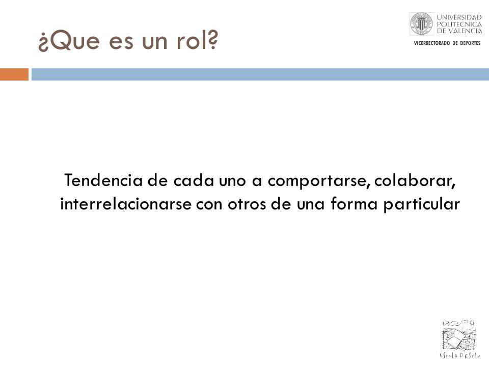 Tipos de roles: Roles funcionales Conocimientos técnicos y específicos (Contable, Vendedor, Ingenierio,....) Roles personales de trabajo en equipo Estilos de influencia Tendencia natural a ejercitar uno, dos,...