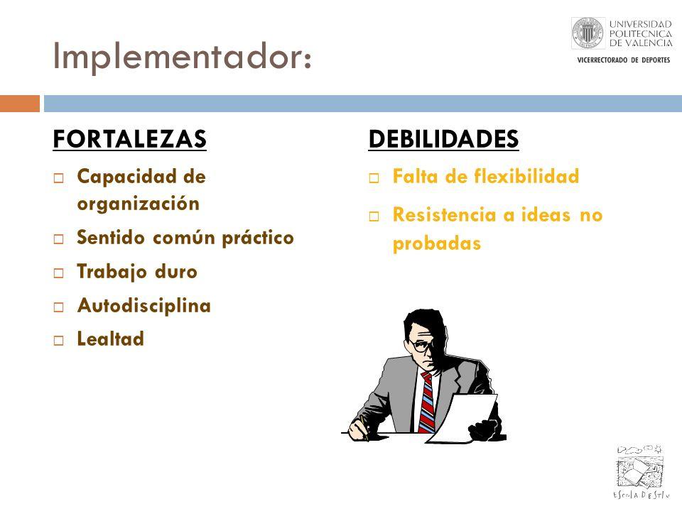 Implementador: FORTALEZAS Capacidad de organización Sentido común práctico Trabajo duro Autodisciplina Lealtad DEBILIDADES Falta de flexibilidad Resis