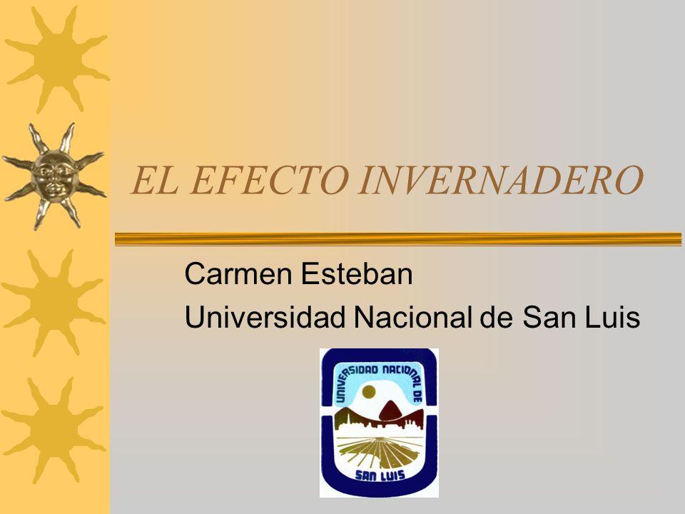 EL EFECTO INVERNADERO Carmen Esteban Universidad Nacional de San Luis