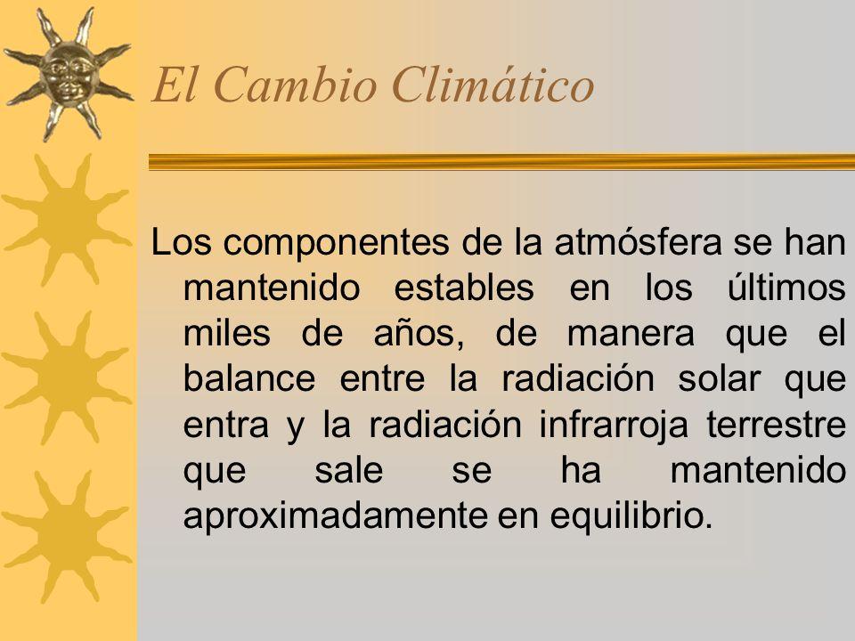 El Cambio Climático Los componentes de la atmósfera se han mantenido estables en los últimos miles de años, de manera que el balance entre la radiación solar que entra y la radiación infrarroja terrestre que sale se ha mantenido aproximadamente en equilibrio.
