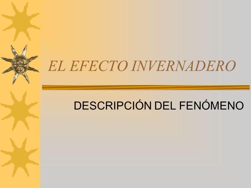 EL EFECTO INVERNADERO DESCRIPCIÓN DEL FENÓMENO