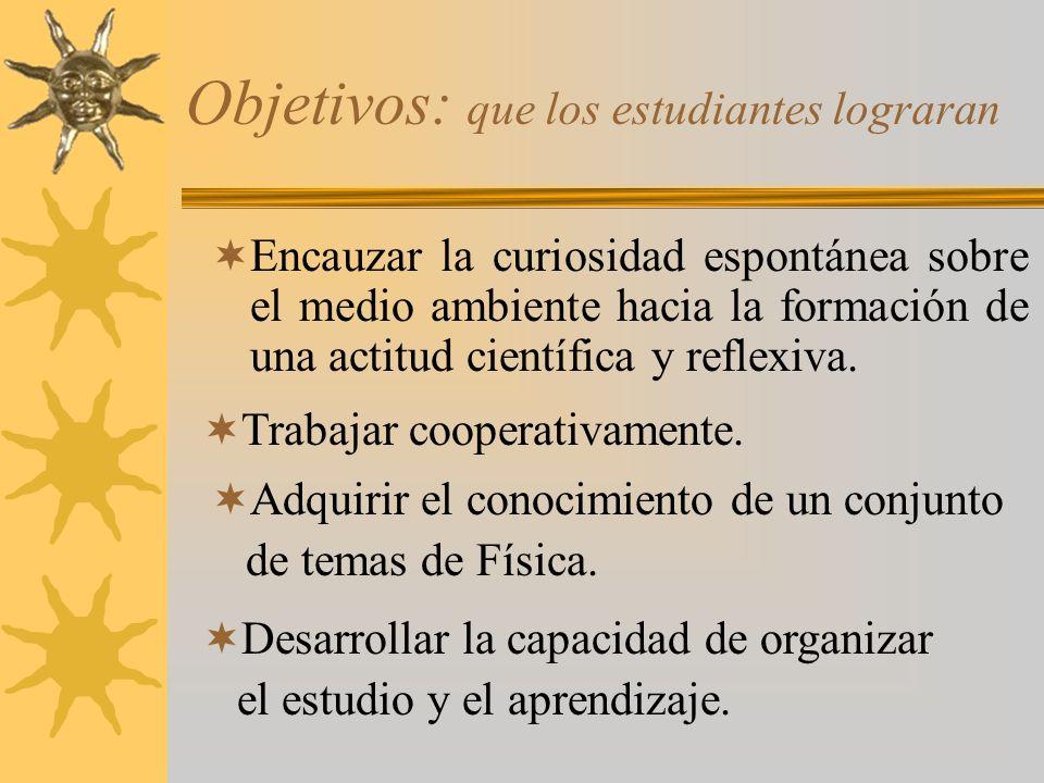 Objetivos: que los estudiantes lograran Encauzar la curiosidad espontánea sobre el medio ambiente hacia la formación de una actitud científica y reflexiva.