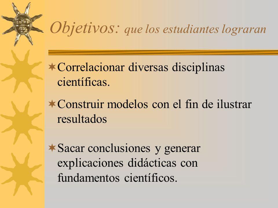 Objetivos: que los estudiantes lograran Correlacionar diversas disciplinas científicas.