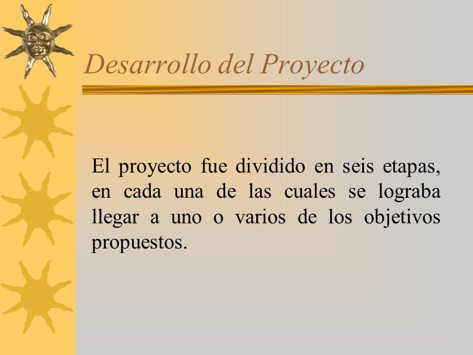Desarrollo del Proyecto El proyecto fue dividido en seis etapas, en cada una de las cuales se lograba llegar a uno o varios de los objetivos propuestos.