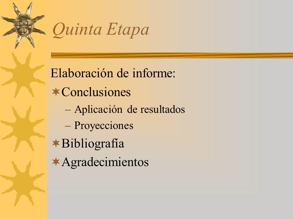 Quinta Etapa Elaboración de informe: Conclusiones –Aplicación de resultados –Proyecciones Bibliografía Agradecimientos
