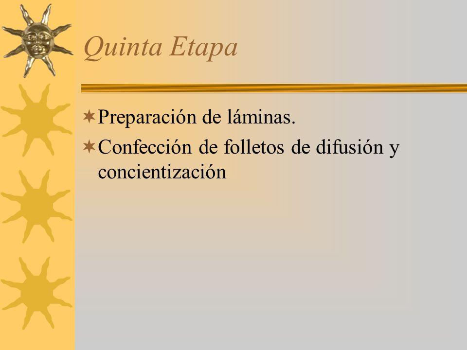 Quinta Etapa Preparación de láminas. Confección de folletos de difusión y concientización