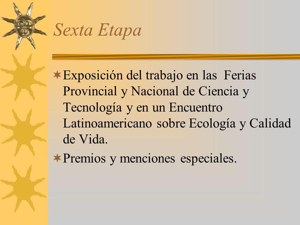 Sexta Etapa Exposición del trabajo en las Ferias Provincial y Nacional de Ciencia y Tecnología y en un Encuentro Latinoamericano sobre Ecología y Calidad de Vida.