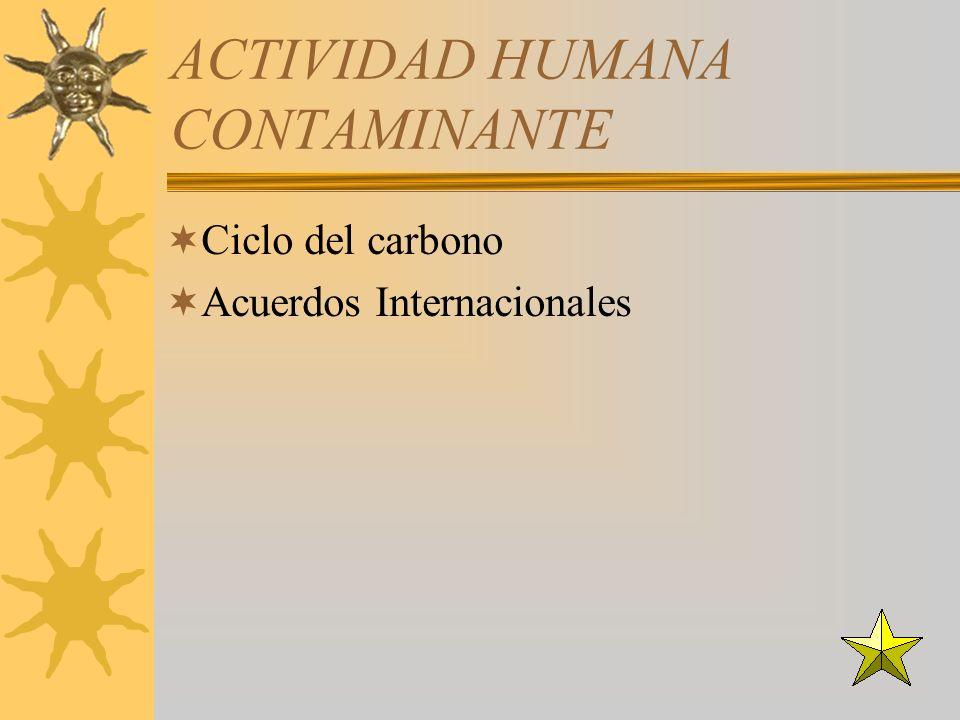 ACTIVIDAD HUMANA CONTAMINANTE Ciclo del carbono Acuerdos Internacionales