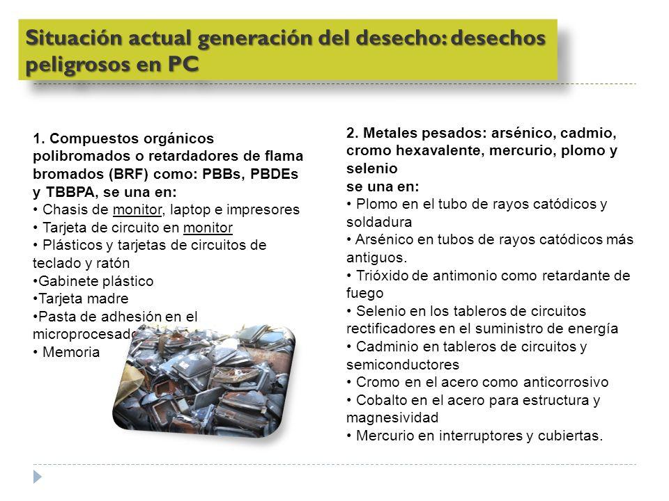 1. Compuestos orgánicos polibromados o retardadores de flama bromados (BRF) como: PBBs, PBDEs y TBBPA, se una en: Chasis de monitor, laptop e impresor