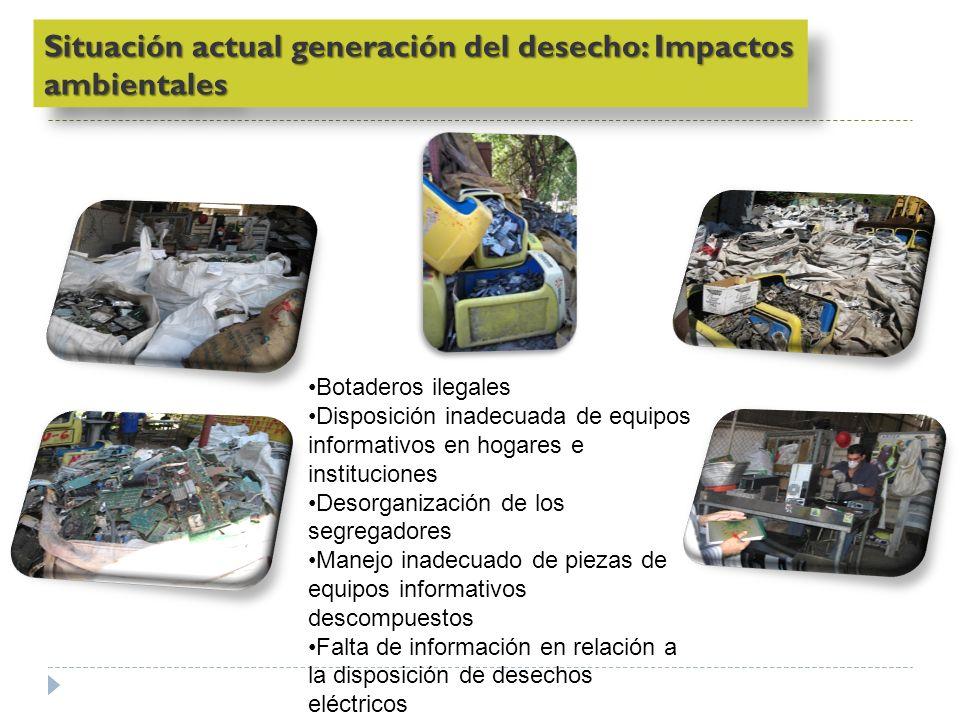 Botaderos ilegales Disposición inadecuada de equipos informativos en hogares e instituciones Desorganización de los segregadores Manejo inadecuado de