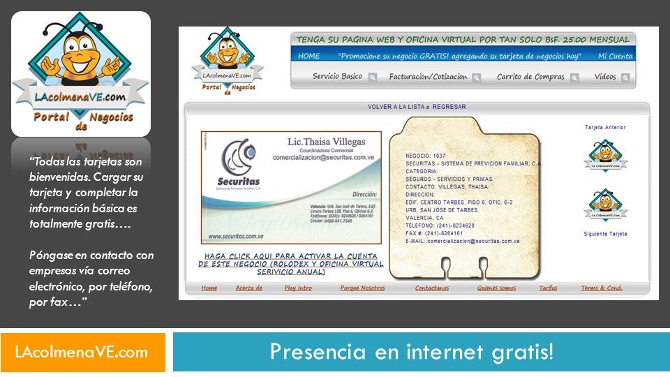 Presencia en internet gratis! Todas las tarjetas son bienvenidas. Cargar su tarjeta y completar la información básica es totalmente gratis…. Póngase e