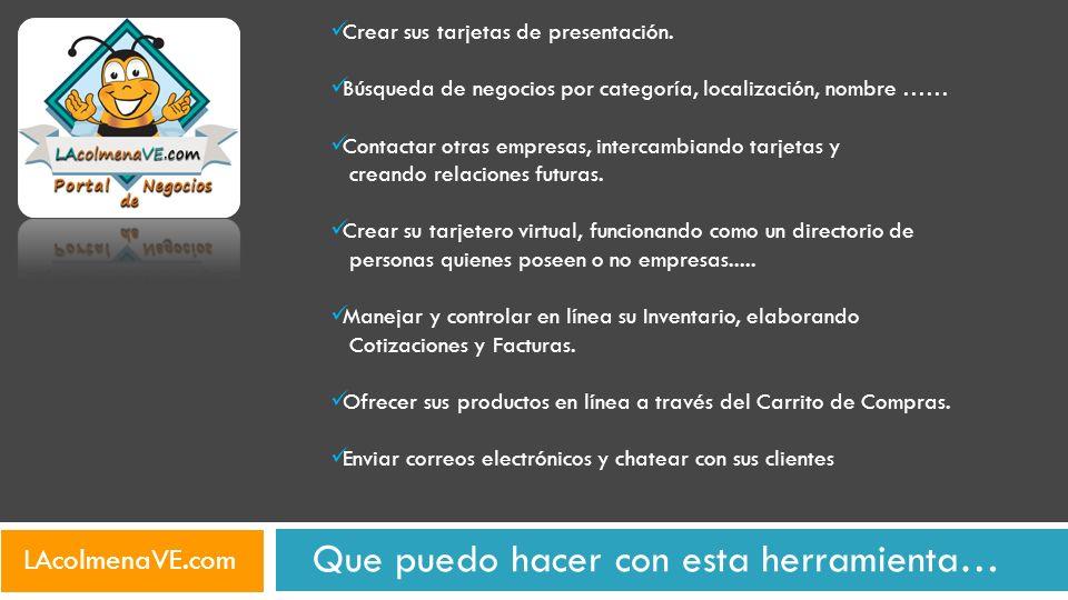 Tarjetas de presentacion de todo el pais… Tarjetas de presentación se buscan por estado, ciudad, empresa, nombre de contacto, descripción, categorías, correo, o por cualquier combinación de estos datos… LAcolmenaVE.com