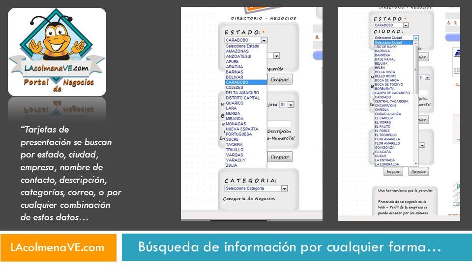 Búsqueda de información por cualquier forma… LAcolmenaVE.com Tarjetas de presentación se buscan por estado, ciudad, empresa, nombre de contacto, descr