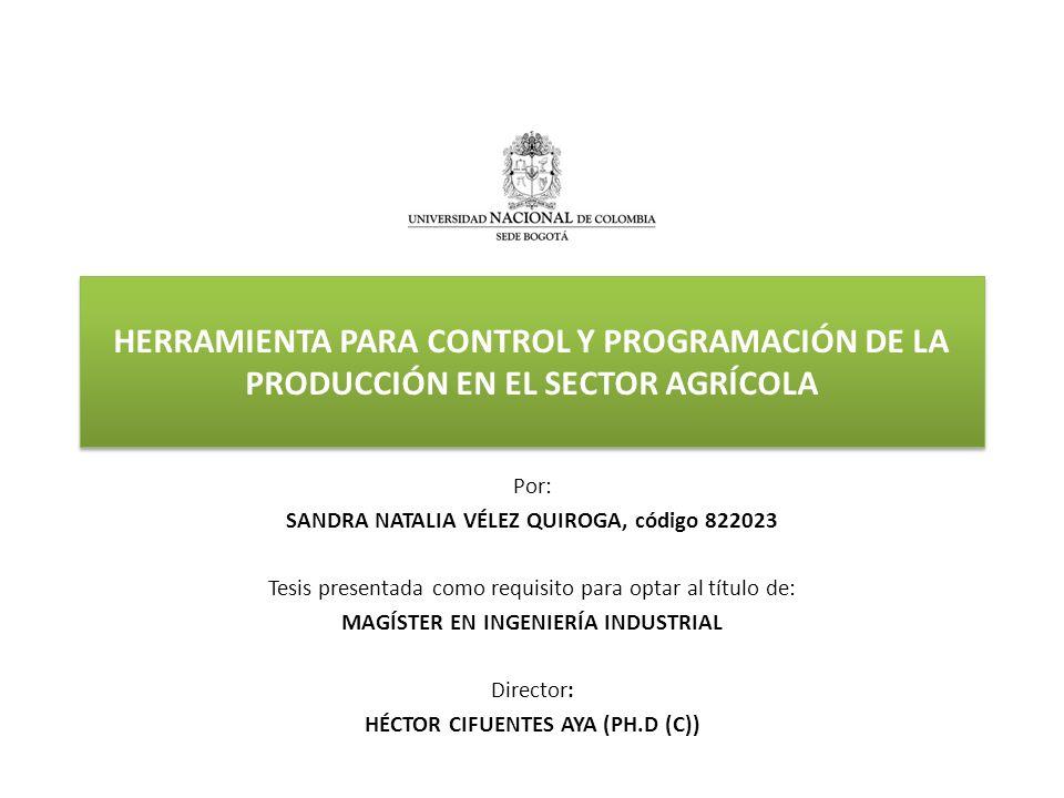 HERRAMIENTA PARA CONTROL Y PROGRAMACIÓN DE LA PRODUCCIÓN EN EL SECTOR AGRÍCOLA Por: SANDRA NATALIA VÉLEZ QUIROGA, código 822023 Tesis presentada como