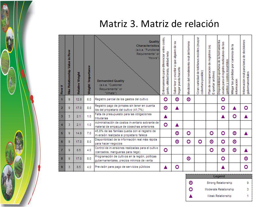 Matriz 3. Matriz de relación