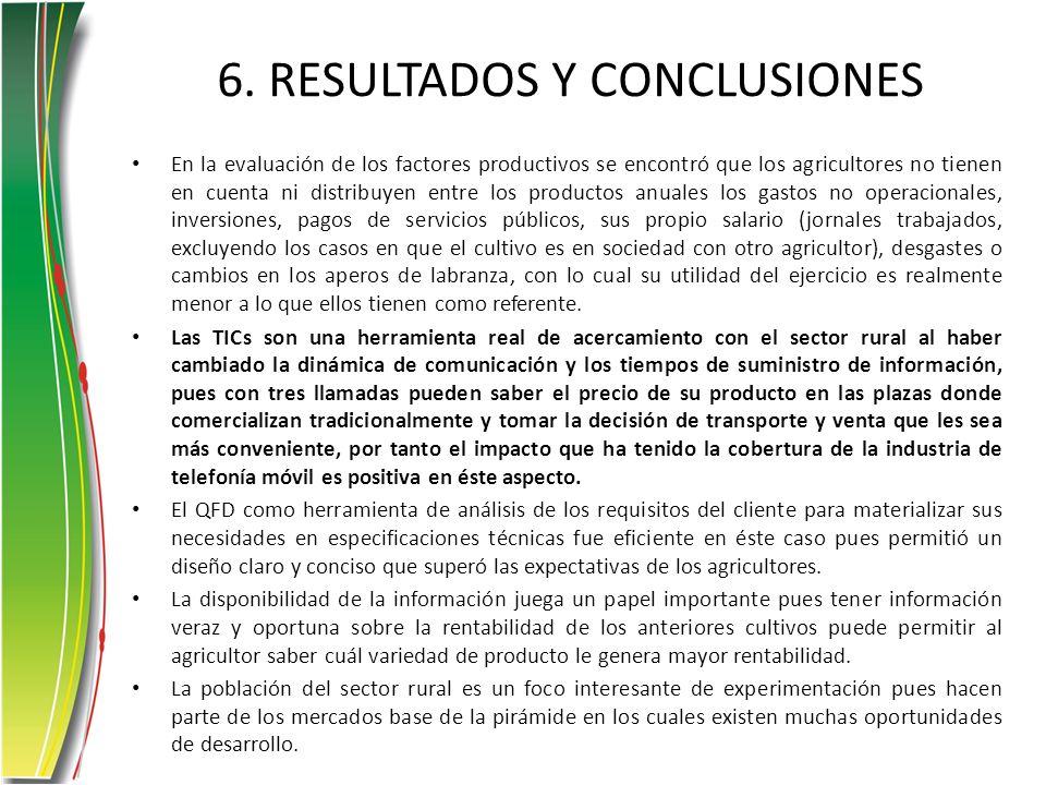 6. RESULTADOS Y CONCLUSIONES En la evaluación de los factores productivos se encontró que los agricultores no tienen en cuenta ni distribuyen entre lo