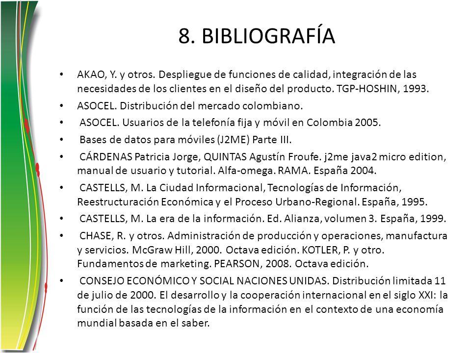 8. BIBLIOGRAFÍA AKAO, Y. y otros. Despliegue de funciones de calidad, integración de las necesidades de los clientes en el diseño del producto. TGP-HO