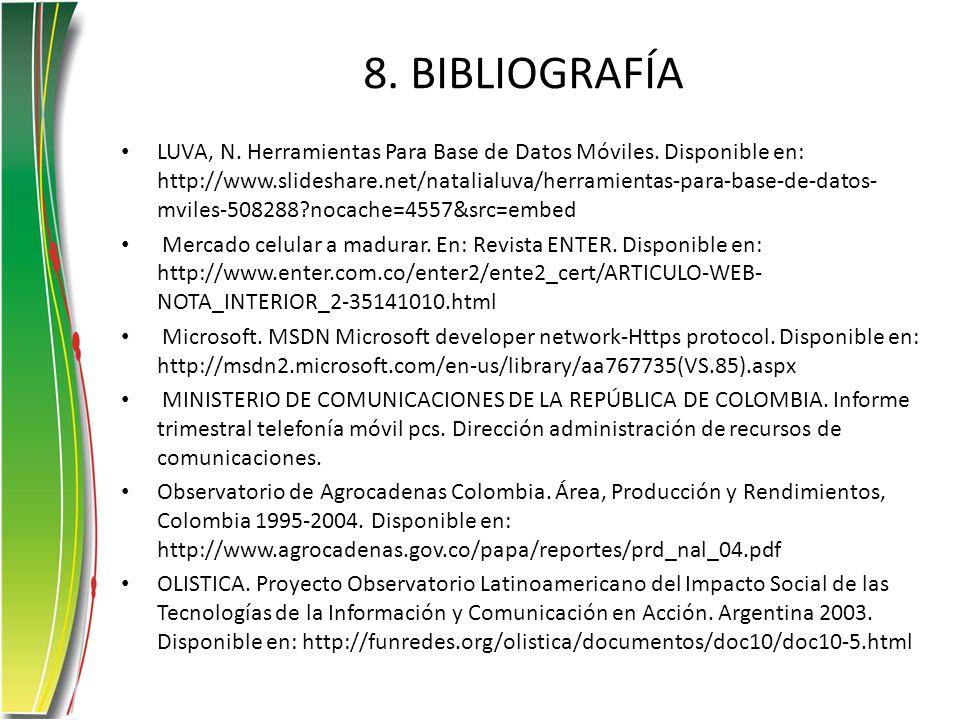8. BIBLIOGRAFÍA LUVA, N. Herramientas Para Base de Datos Móviles. Disponible en: http://www.slideshare.net/natalialuva/herramientas-para-base-de-datos