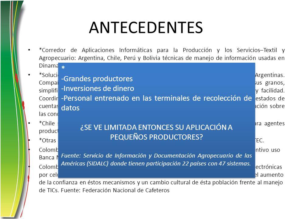 ANTECEDENTES *Corredor de Aplicaciones Informáticas para la Producción y los Servicios–Textil y Agropecuario: Argentina, Chile, Perú y Bolivia técnica