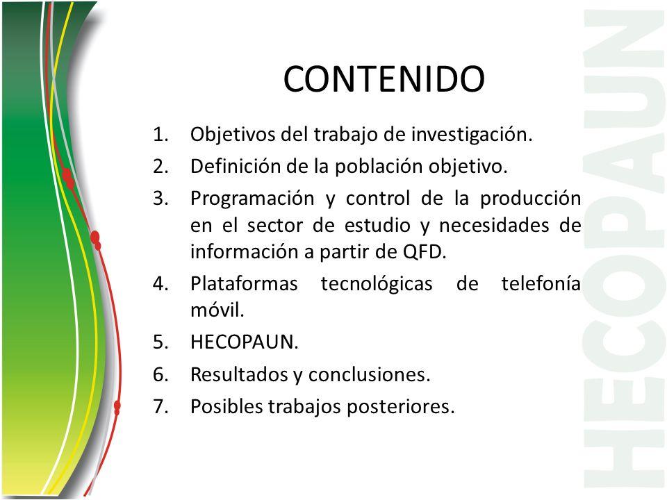 CONTENIDO 1.Objetivos del trabajo de investigación. 2.Definición de la población objetivo. 3.Programación y control de la producción en el sector de e