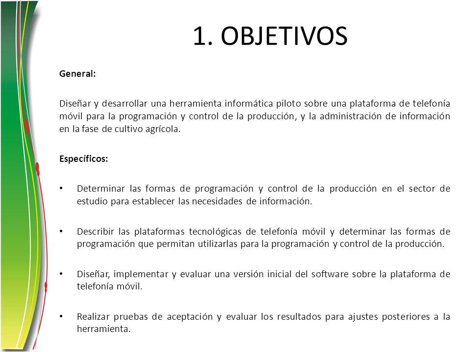 1. OBJETIVOS General: Diseñar y desarrollar una herramienta informática piloto sobre una plataforma de telefonía móvil para la programación y control