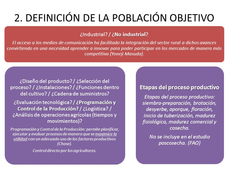 2. DEFINICIÓN DE LA POBLACIÓN OBJETIVO No industrial ¿Industrial? / ¿No industrial? El acceso a los medios de comunicación ha facilitado la integració