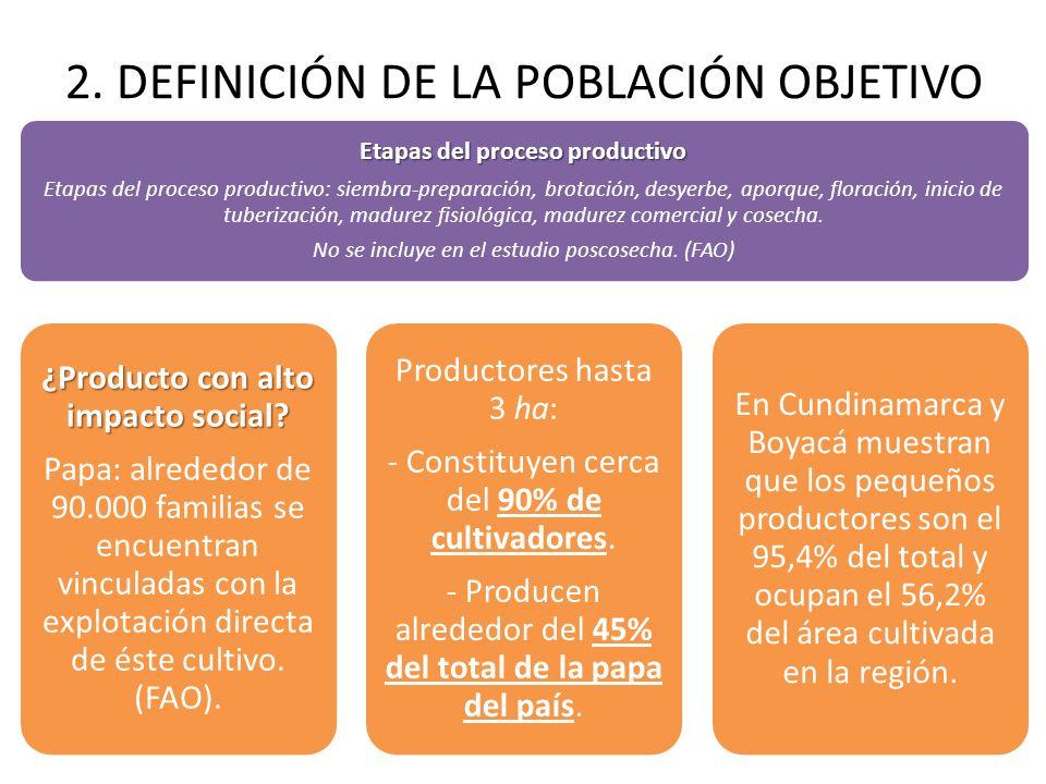 2. DEFINICIÓN DE LA POBLACIÓN OBJETIVO Etapas del proceso productivo Etapas del proceso productivo: siembra-preparación, brotación, desyerbe, aporque,