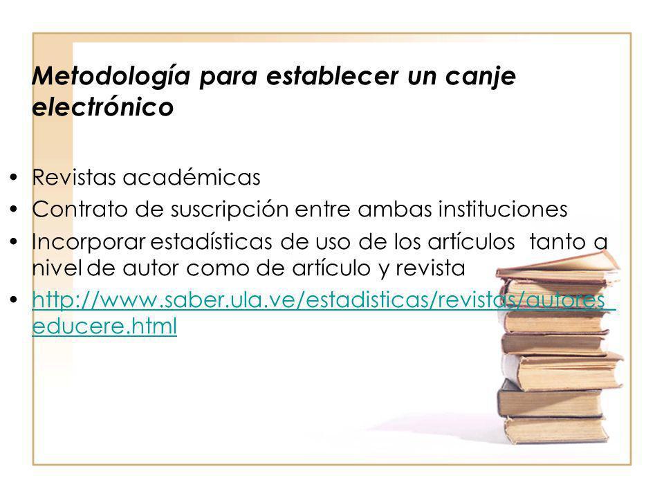 Metodología para establecer un canje electrónico Revistas académicas Contrato de suscripción entre ambas instituciones Incorporar estadísticas de uso
