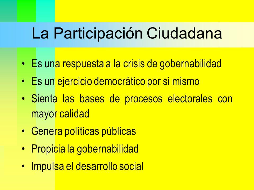 La Participación Ciudadana Es una respuesta a la crisis de gobernabilidad Es un ejercicio democrático por si mismo Sienta las bases de procesos electo