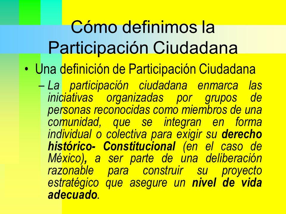 Cómo definimos la Participación Ciudadana Una definición de Participación Ciudadana – La participación ciudadana enmarca las iniciativas organizadas p