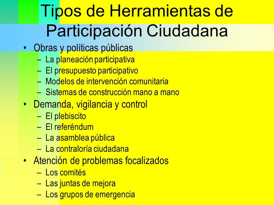 Tipos de Herramientas de Participación Ciudadana Obras y políticas públicas –La planeación participativa –El presupuesto participativo –Modelos de int