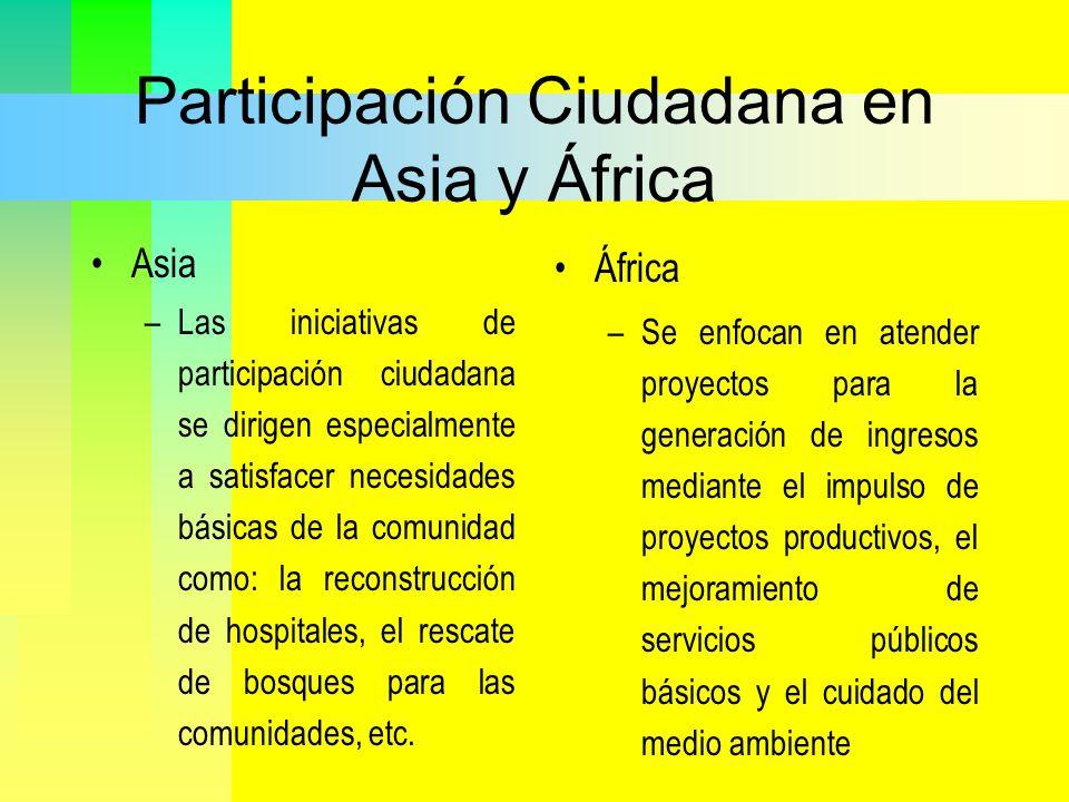 Participación Ciudadana en Asia y África Asia –Las iniciativas de participación ciudadana se dirigen especialmente a satisfacer necesidades básicas de