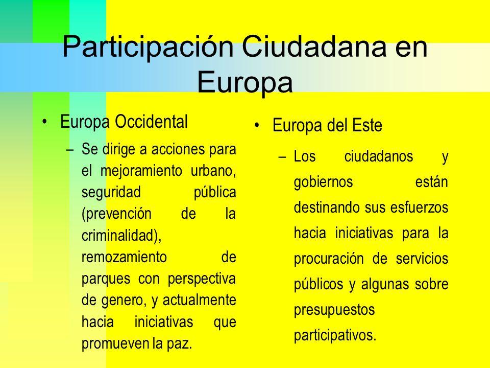 Participación Ciudadana en Europa Europa Occidental –Se dirige a acciones para el mejoramiento urbano, seguridad pública (prevención de la criminalida