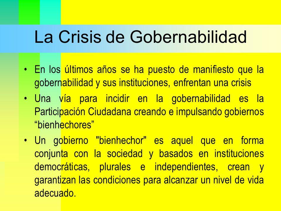 La Crisis de Gobernabilidad En los últimos años se ha puesto de manifiesto que la gobernabilidad y sus instituciones, enfrentan una crisis Una vía par