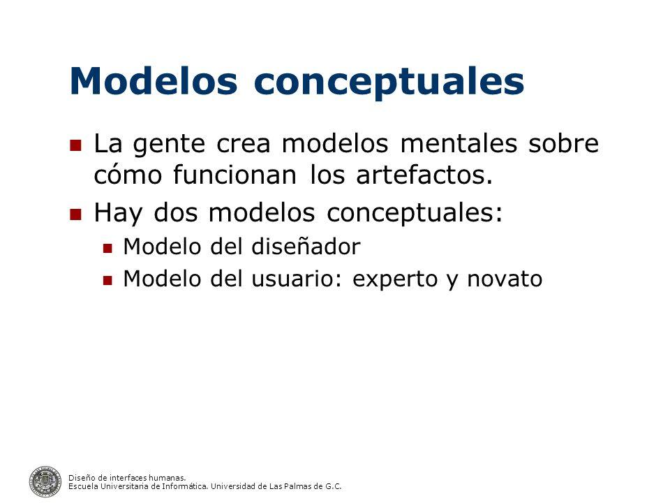 Diseño de interfaces humanas. Escuela Universitaria de Informática. Universidad de Las Palmas de G.C. Modelos conceptuales La gente crea modelos menta