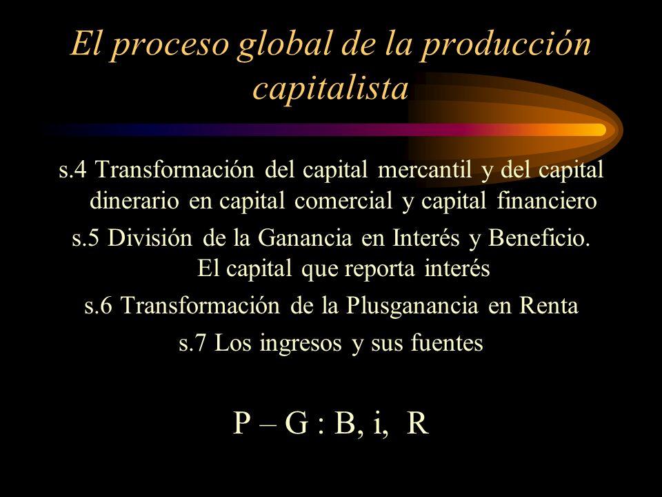 El proceso global de la producción capitalista s.1 La transformación de la Plusvalía en Ganancia y de la la tasa de plusvalía en tasa de ganancia s.2