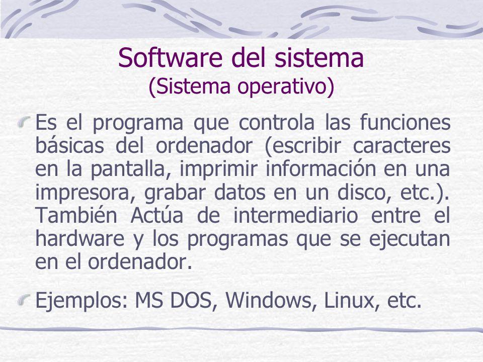 Software del sistema (Sistema operativo) Es el programa que controla las funciones básicas del ordenador (escribir caracteres en la pantalla, imprimir