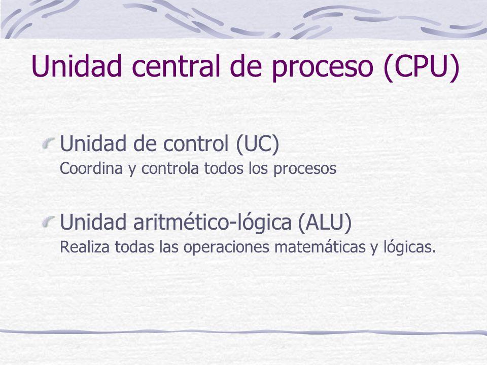Unidad central de proceso (CPU) Unidad de control (UC) Coordina y controla todos los procesos Unidad aritmético-lógica (ALU) Realiza todas las operaci