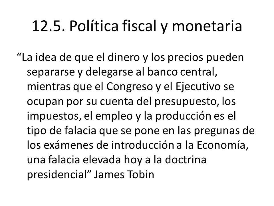 12.5. Política fiscal y monetaria La idea de que el dinero y los precios pueden separarse y delegarse al banco central, mientras que el Congreso y el