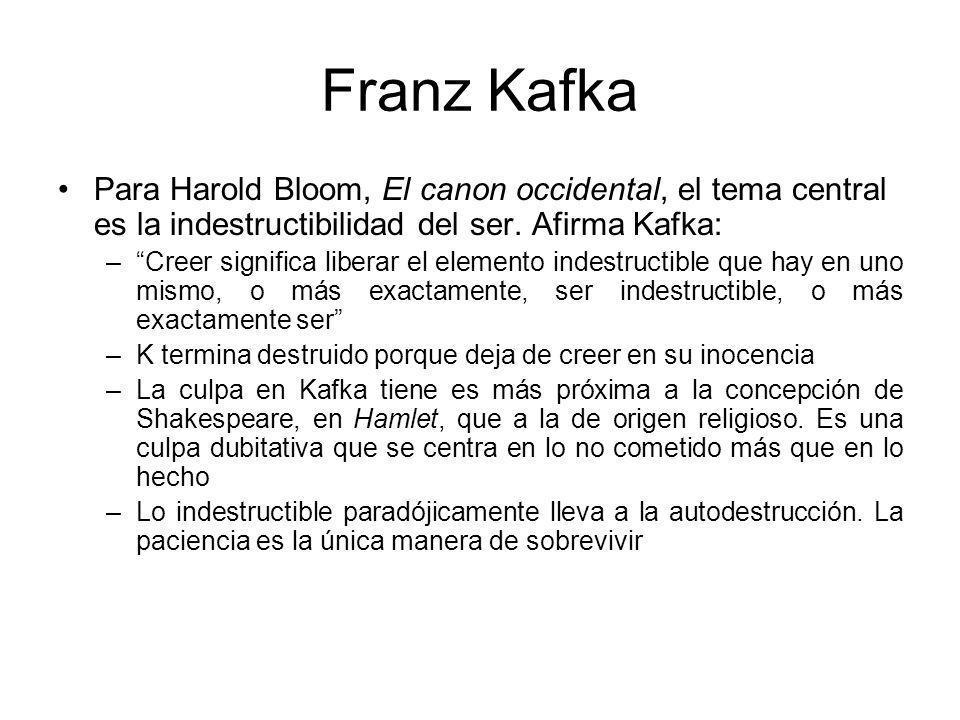 Franz Kafka Para Harold Bloom, El canon occidental, el tema central es la indestructibilidad del ser.