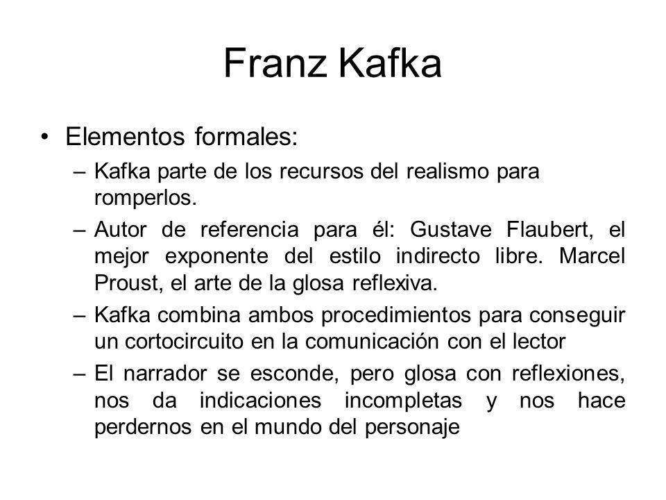 Franz Kafka Elementos formales: –Kafka parte de los recursos del realismo para romperlos.