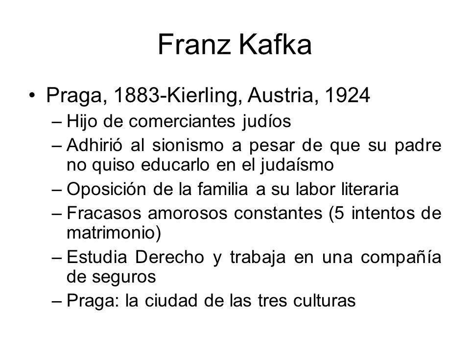 Franz Kafka Praga, 1883-Kierling, Austria, 1924 –Hijo de comerciantes judíos –Adhirió al sionismo a pesar de que su padre no quiso educarlo en el judaísmo –Oposición de la familia a su labor literaria –Fracasos amorosos constantes (5 intentos de matrimonio) –Estudia Derecho y trabaja en una compañía de seguros –Praga: la ciudad de las tres culturas